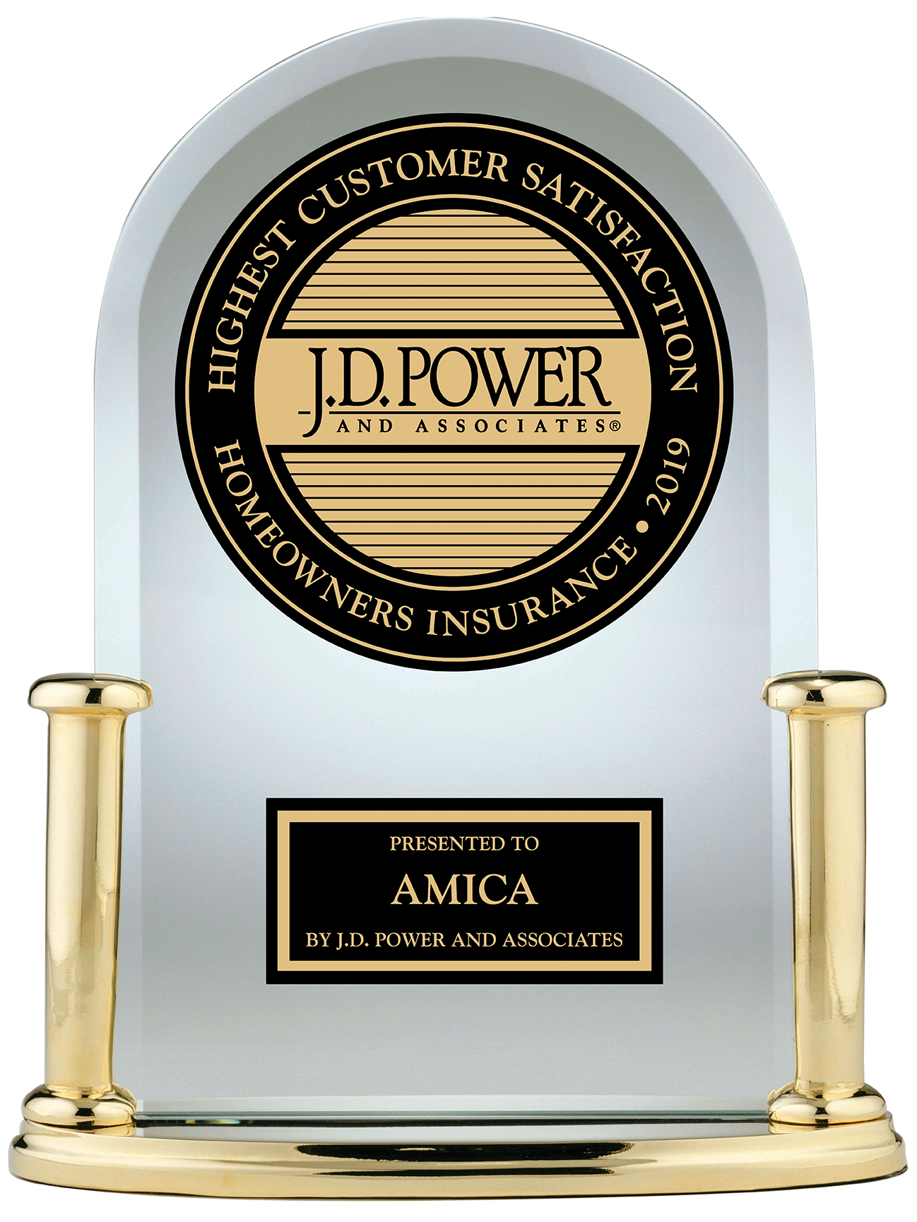 J.D. Power Highest Customer Satisfaction Homeowners Insurance 2019 presented to Amica by J.D. Power and Associates
