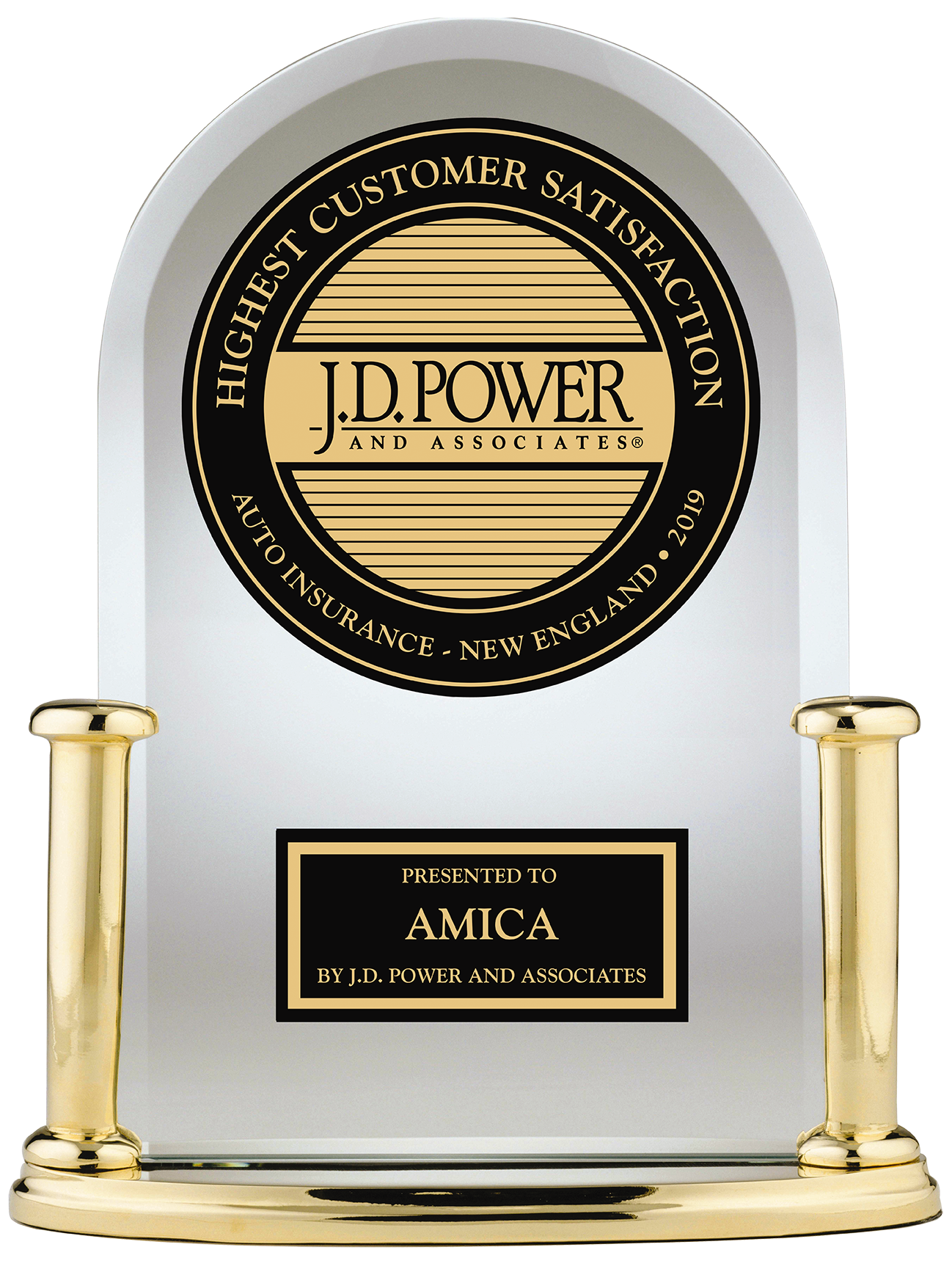 J.D. Power Highest Customer Satisfaction Auto Insurance New England 2019 presented to Amica by J.D. Power and Associates
