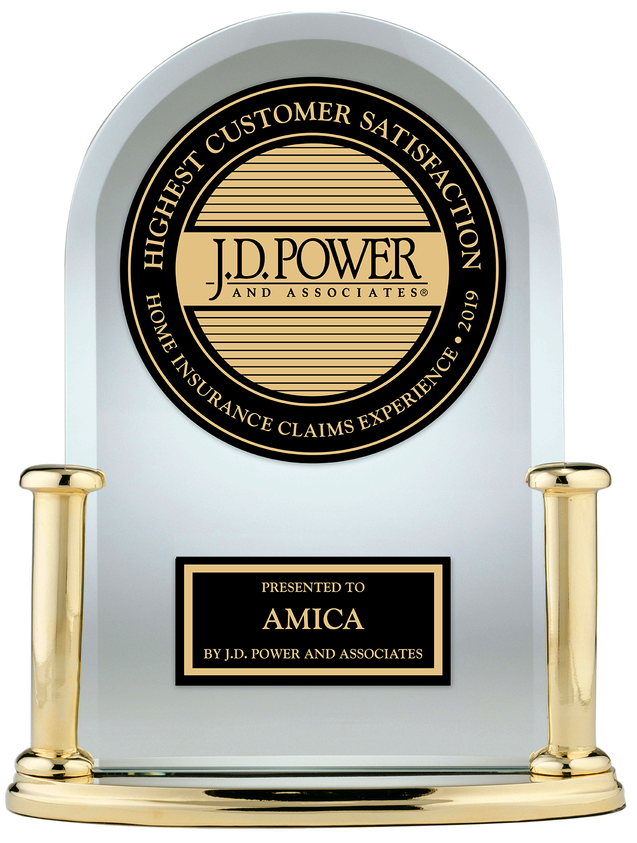 J.D. Power Highest Customer Satisfaction Home Insurance Claims Experience 2019 presented to Amica by J.D. Power and Associates