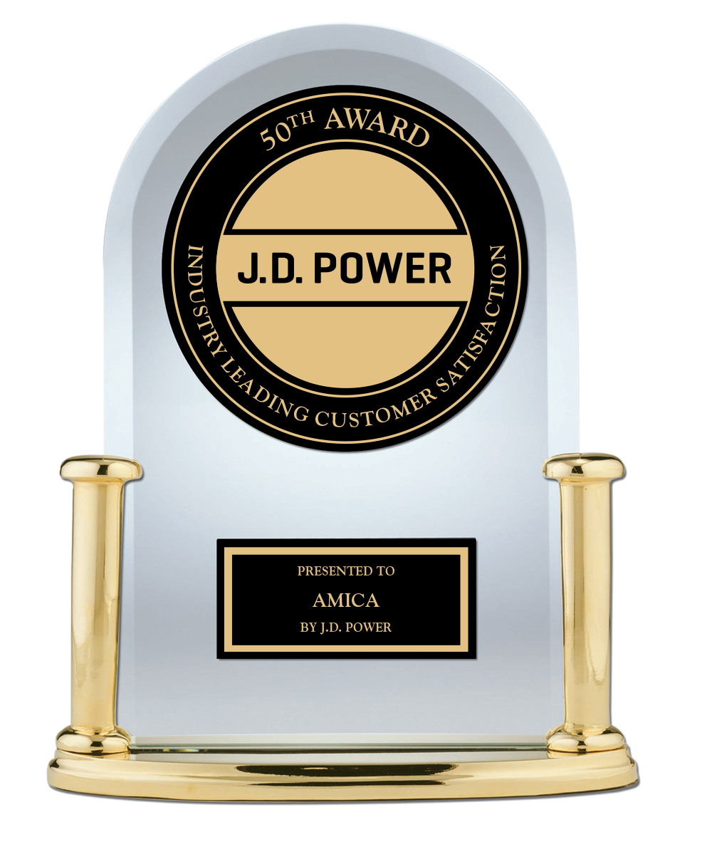 50th Award J.D. Power Industry Leading Customer Satisfaction presented to Amica by J.D. Power