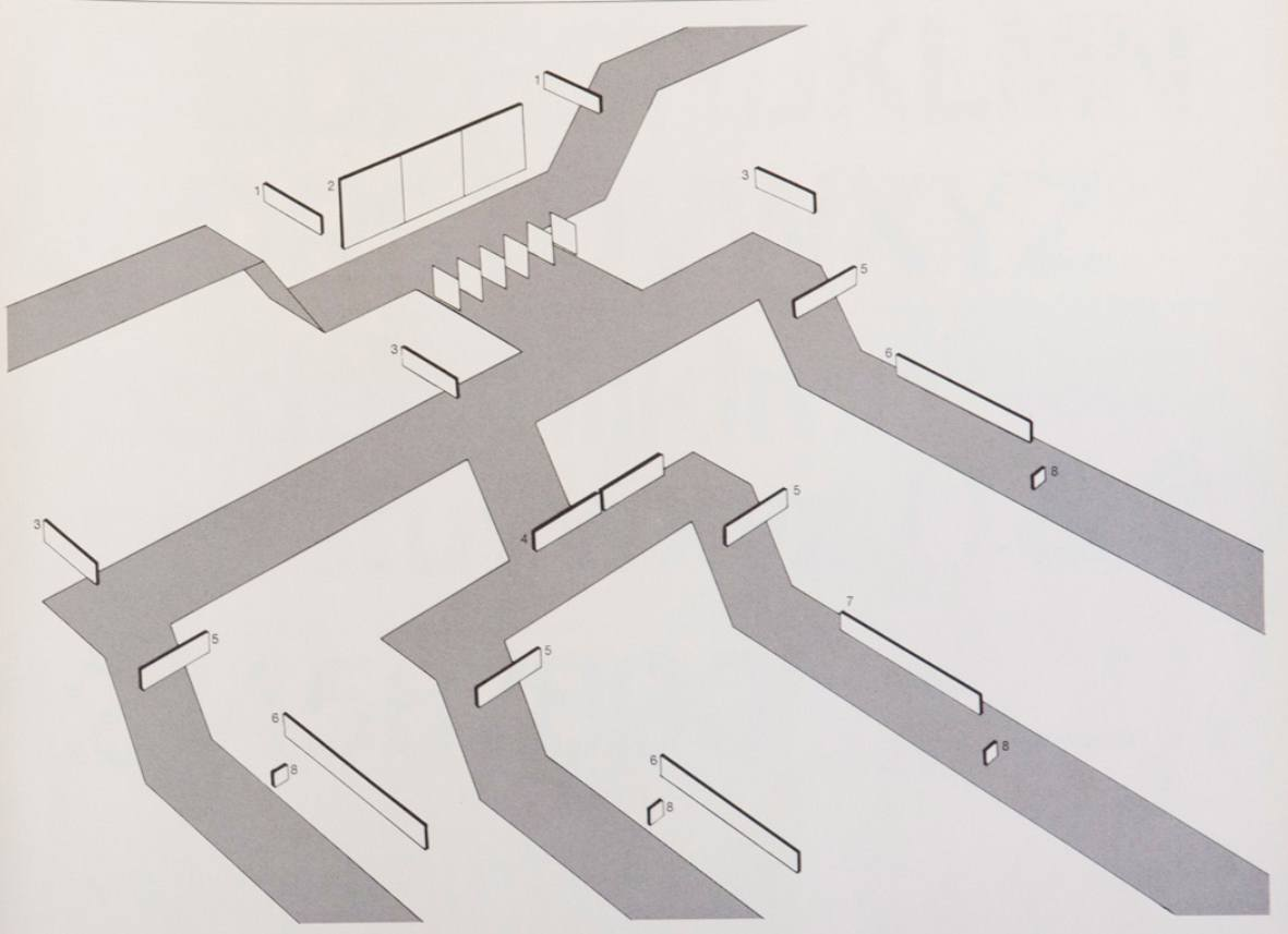 ... and included the equally impressive 8-level schematic, for placing  signage that carefully followed the user's journey through a subway station.