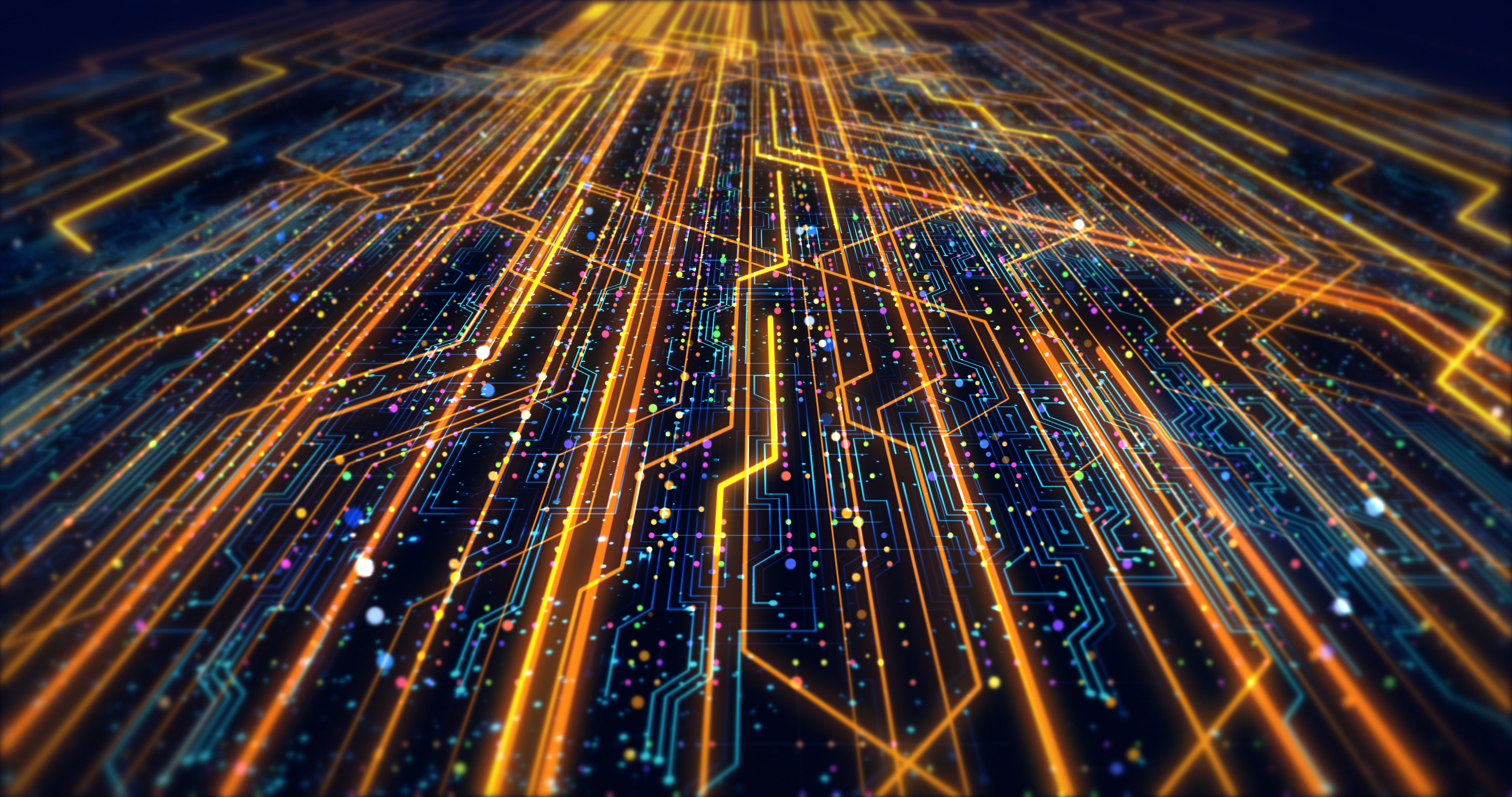 Futuristic Circuit Board Render With Bokeh Effects - Technology Related Concept