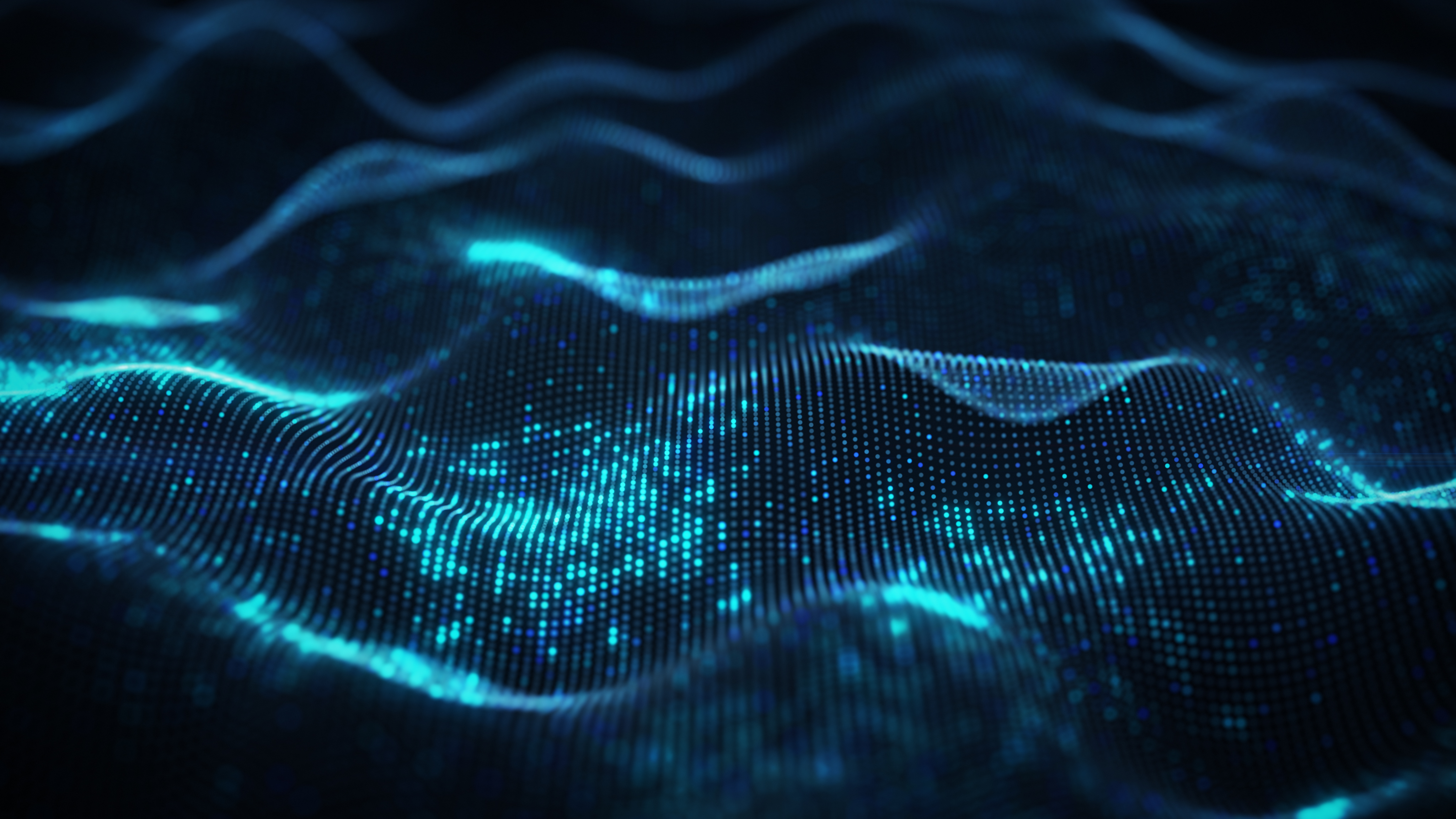 Abstract waves shape of dots. 3D rendering with DOF