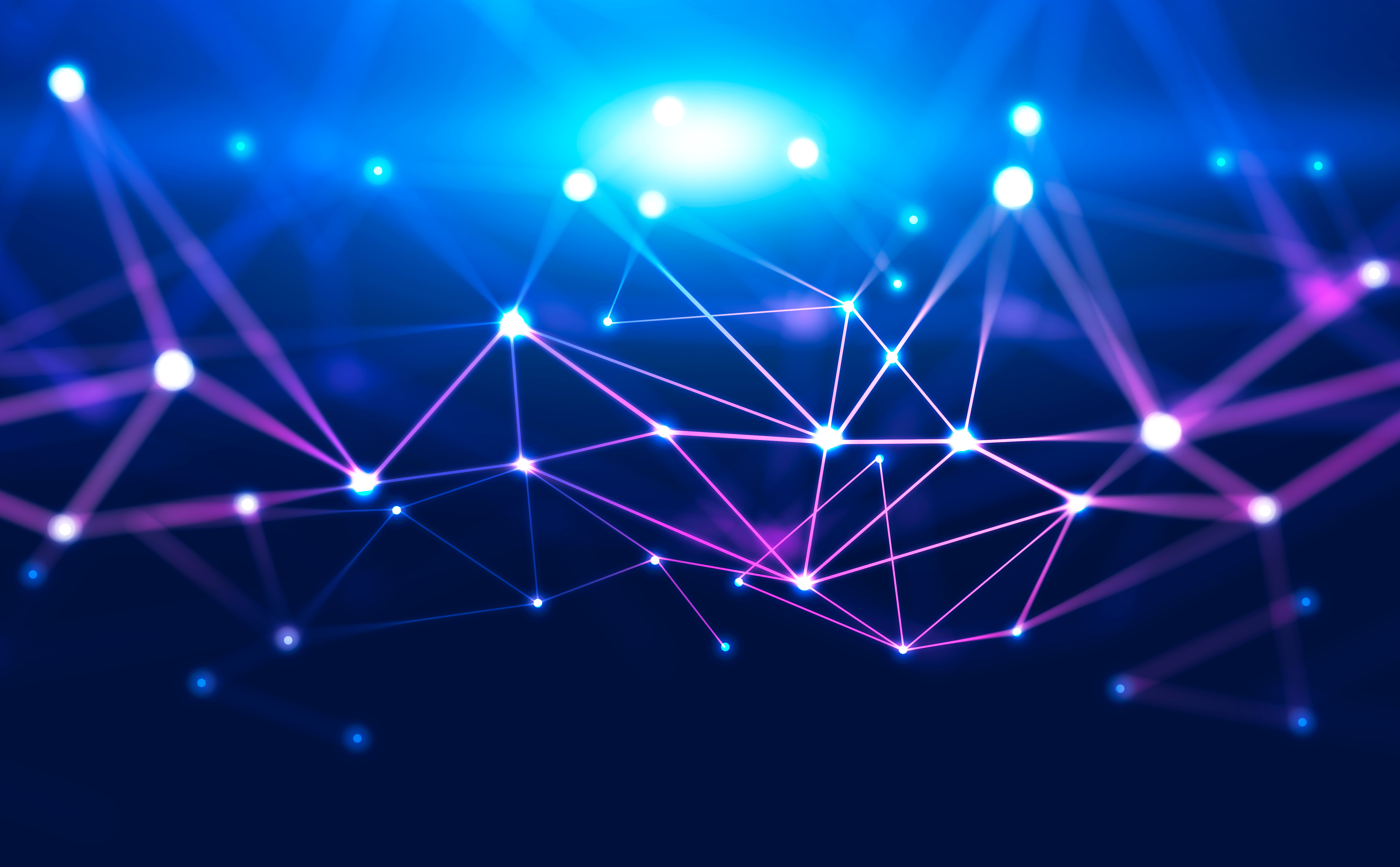 Abstract background with glowing purple and blue connection dots over dark blue. Concept of digital technology and blockchain. 3d rendering