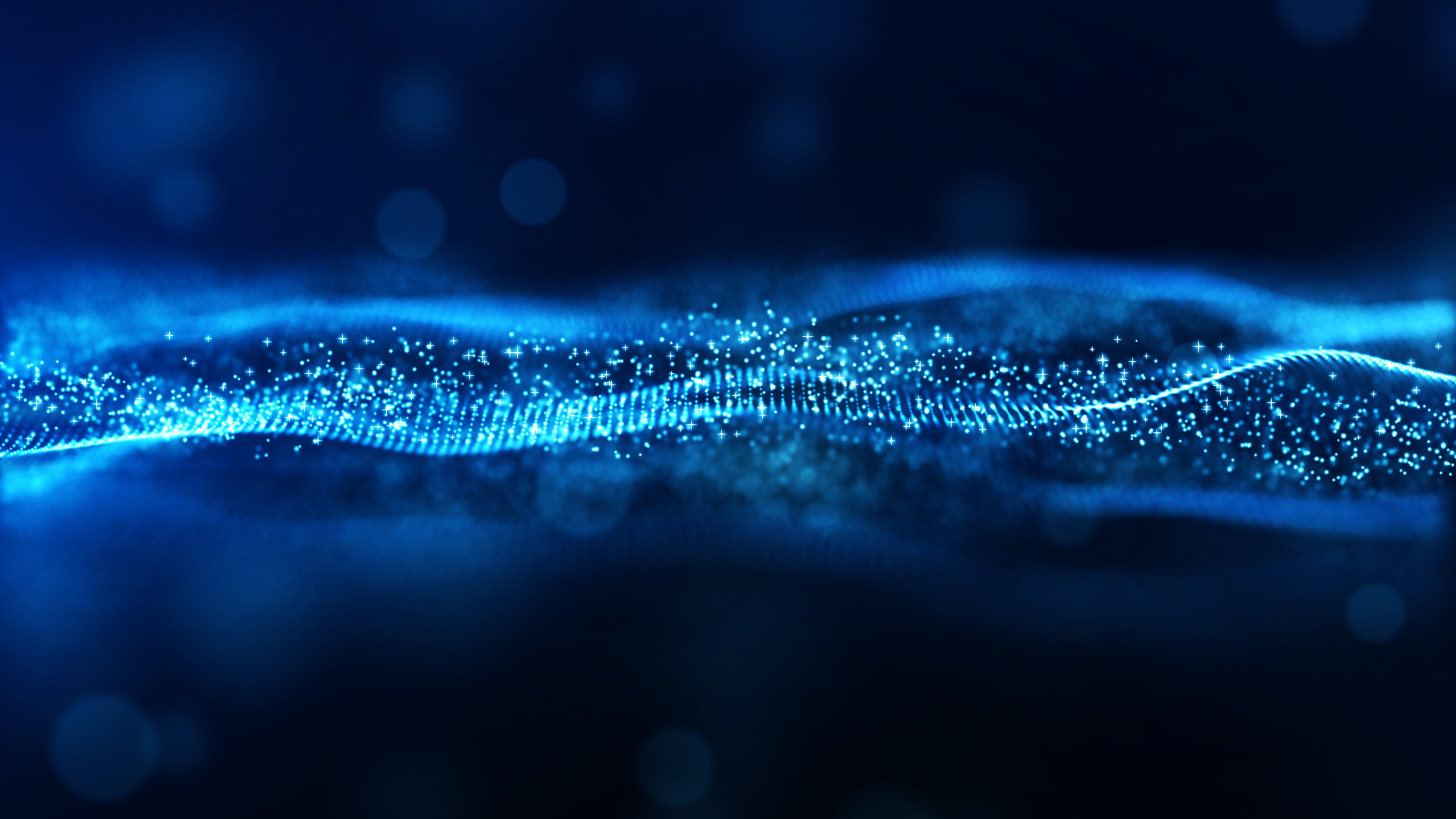 Digital abstract blue color wave particles flow background