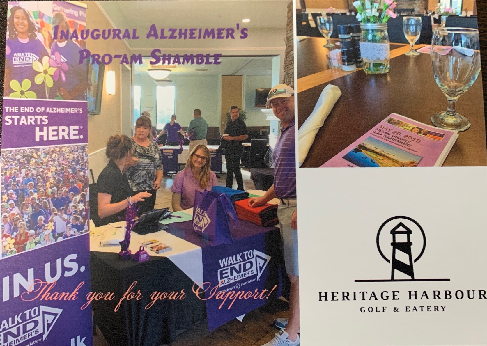 BRP Colleagues in Action pose with booth and table for Alzheimer's event