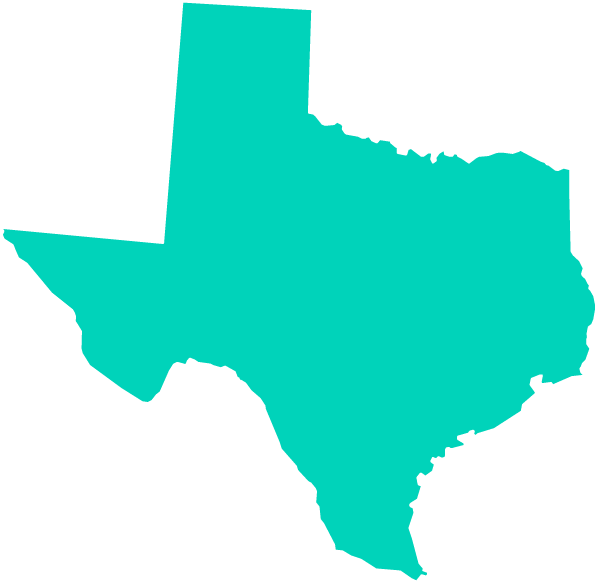 outline of Texas state map filled with aqua color