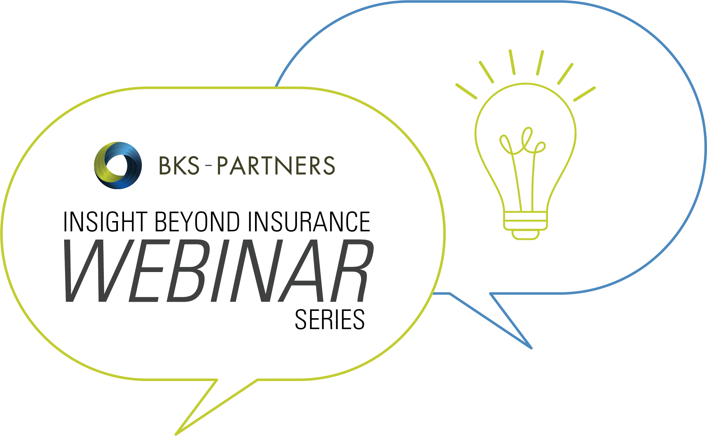 BKS Partners insight beyond insurance webinar series logo with light bulb icon and blue and green chat bubble icons