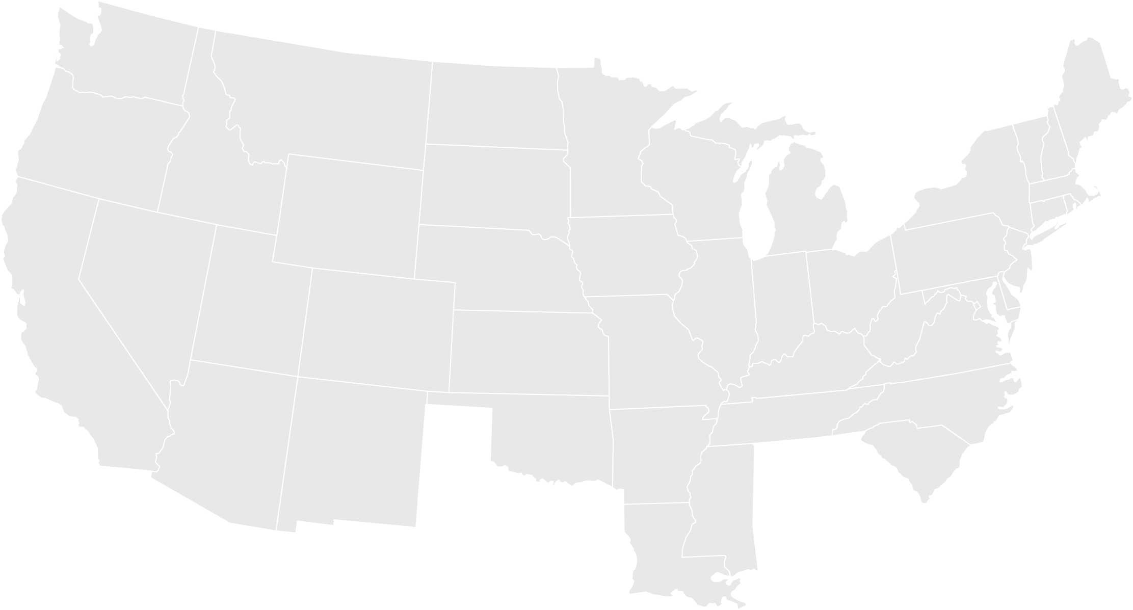 gray map of USA with state boundaries outlined