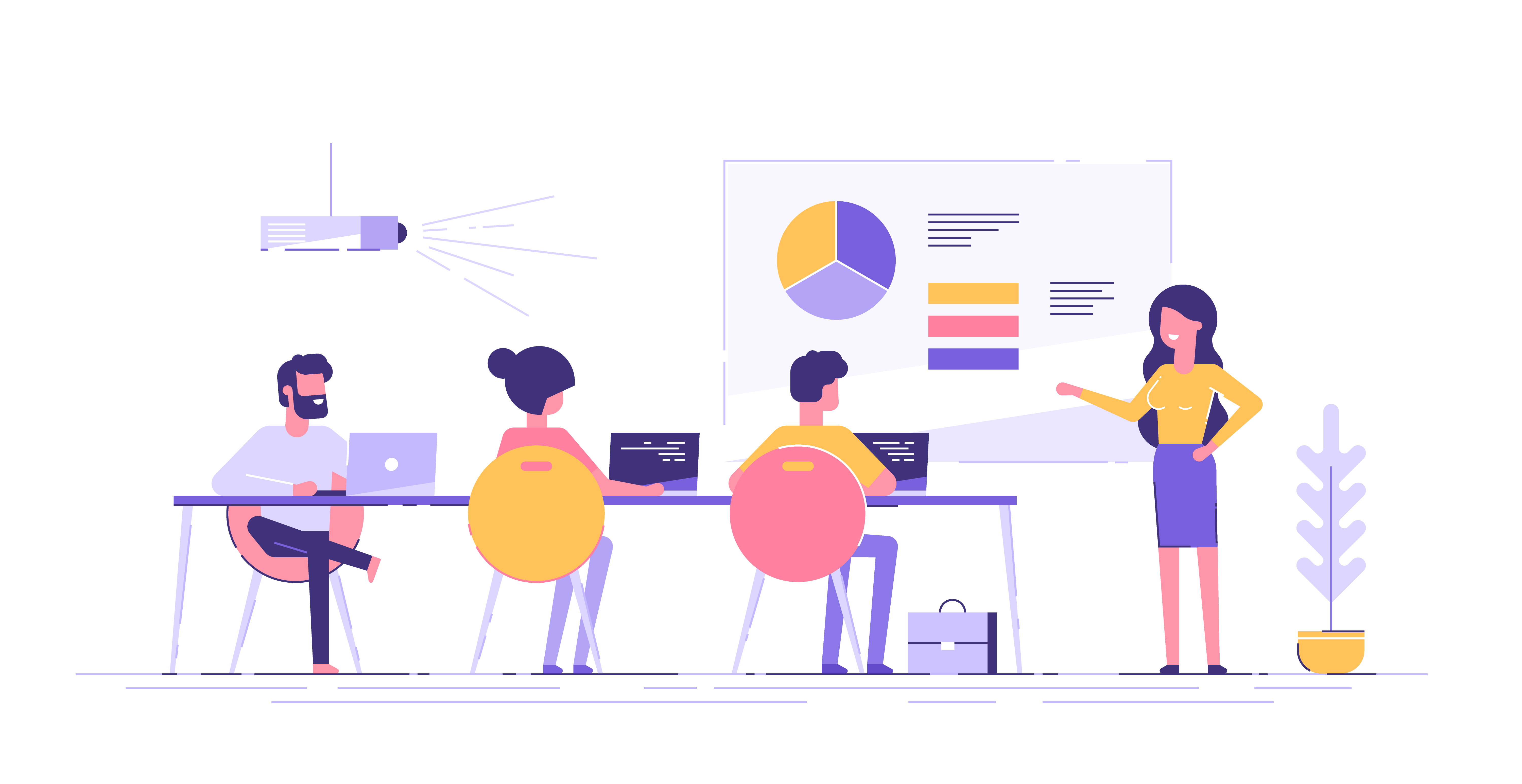 Business woman presenting new project to her partners and colleagues. She is showing graphs and pie charts. Coach giving presentation to clients at conference meeting room. Modern vector illustration.