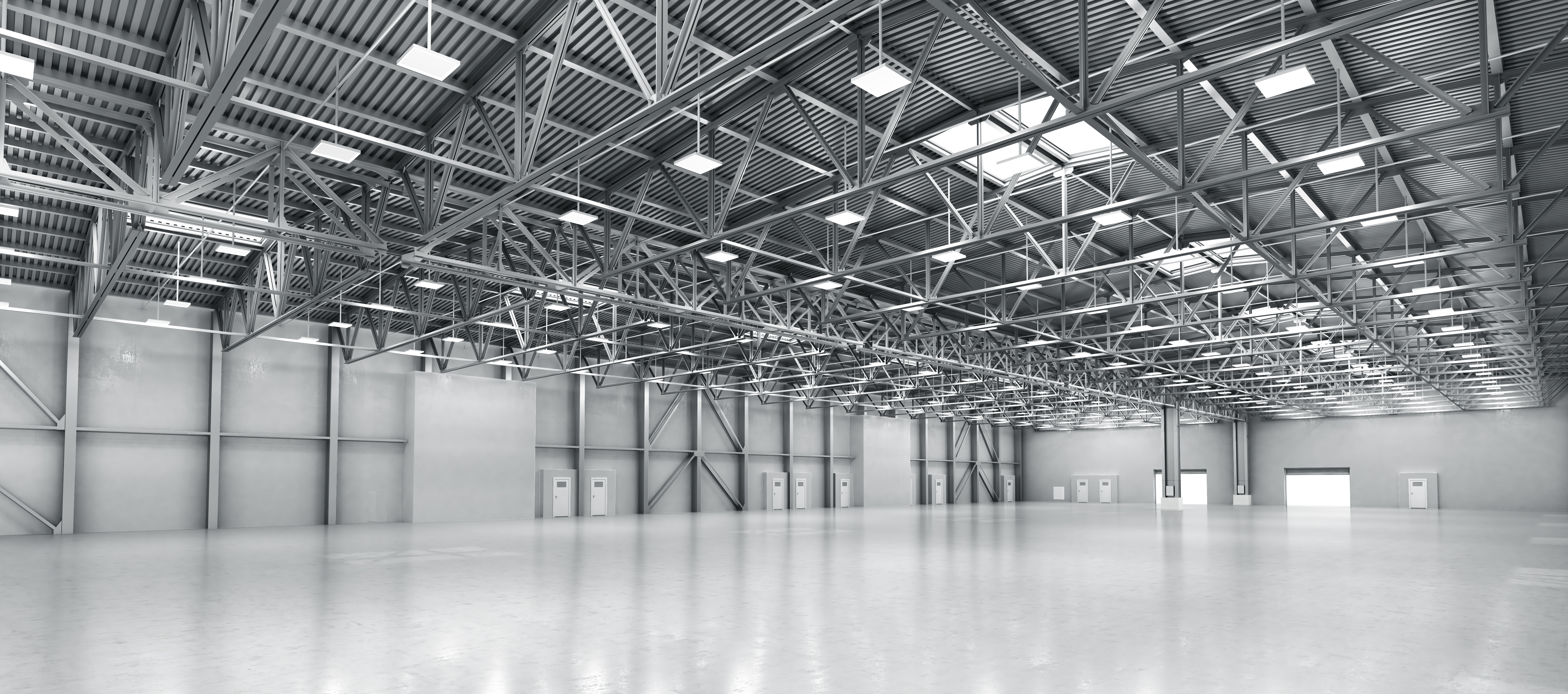Large empty industrial warehouse