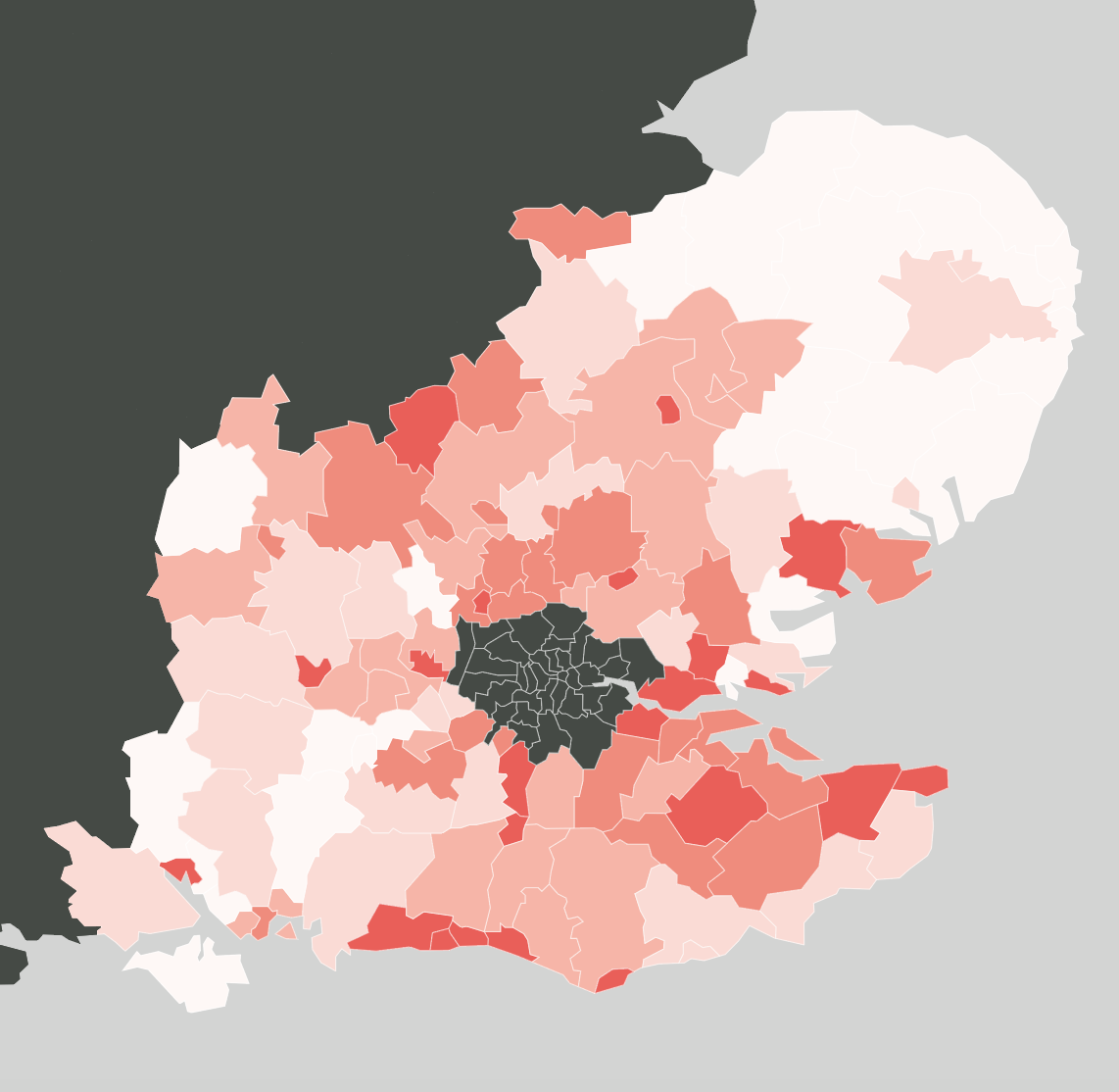 A heat map of south east counties in england.