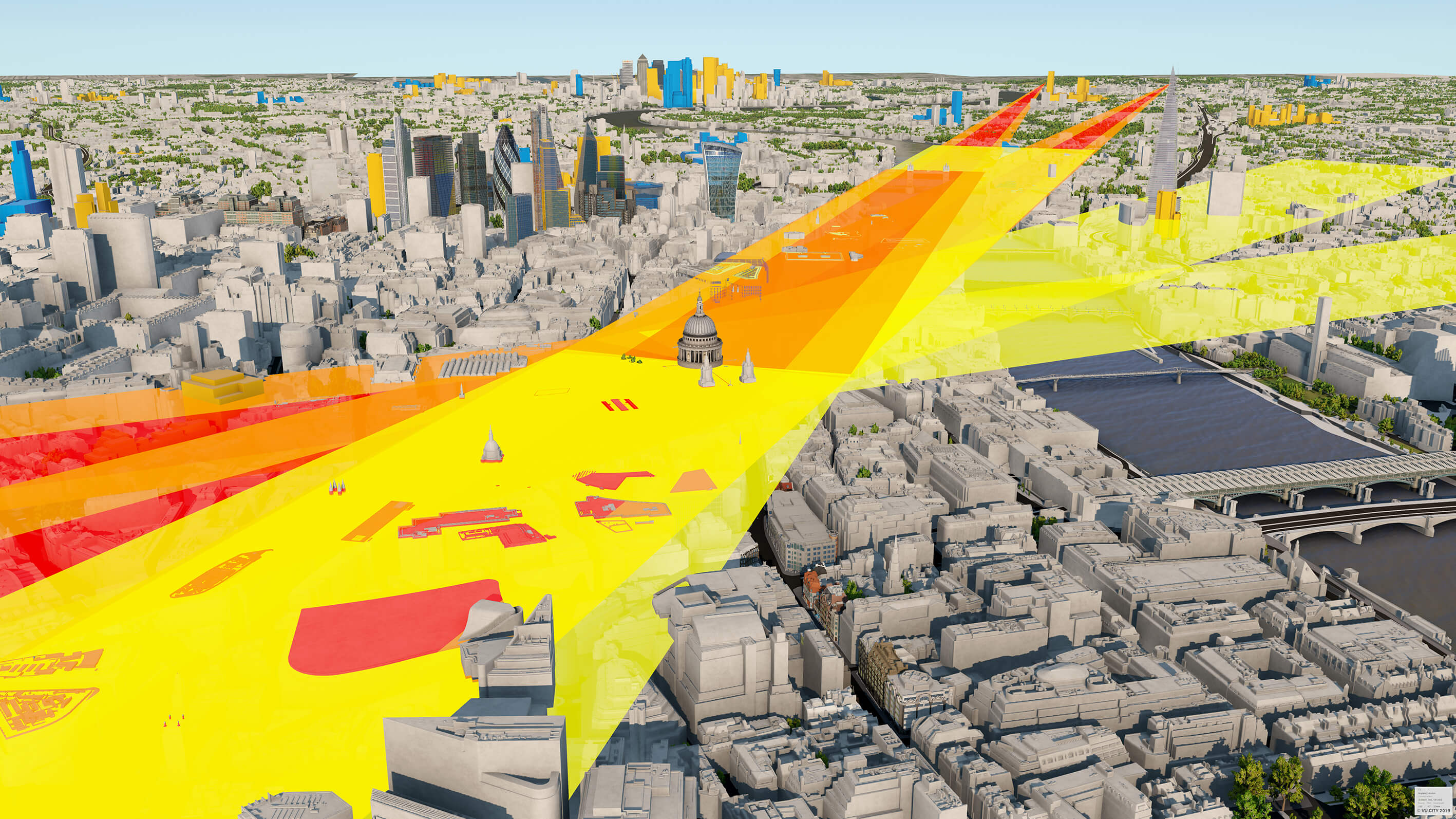 A CGI view of the london skyline with sight lines in yellow, orange and red