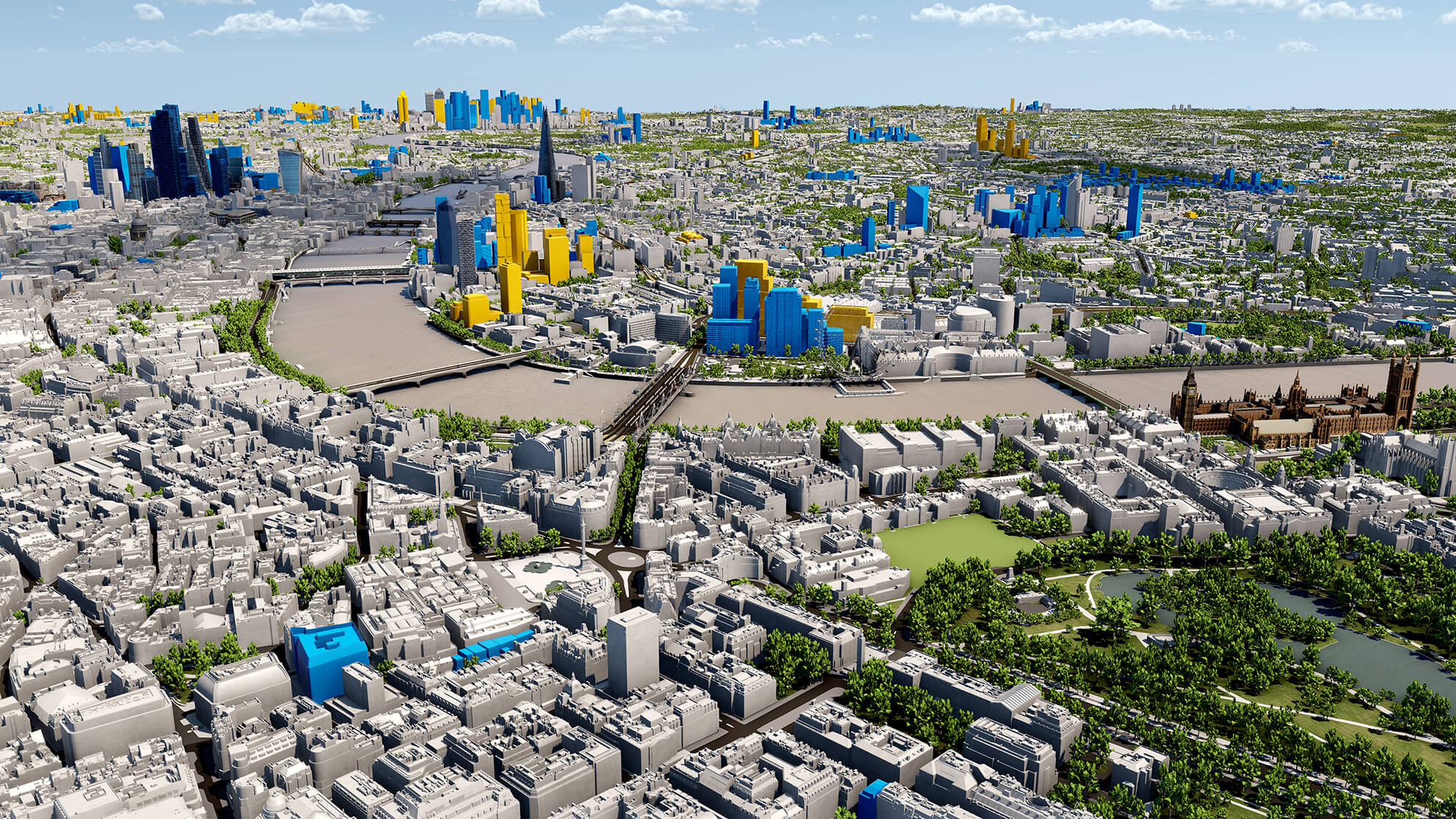 panoramic view of CGI 3d modelling map of London Thames, Shard, business district and houses of parliament.