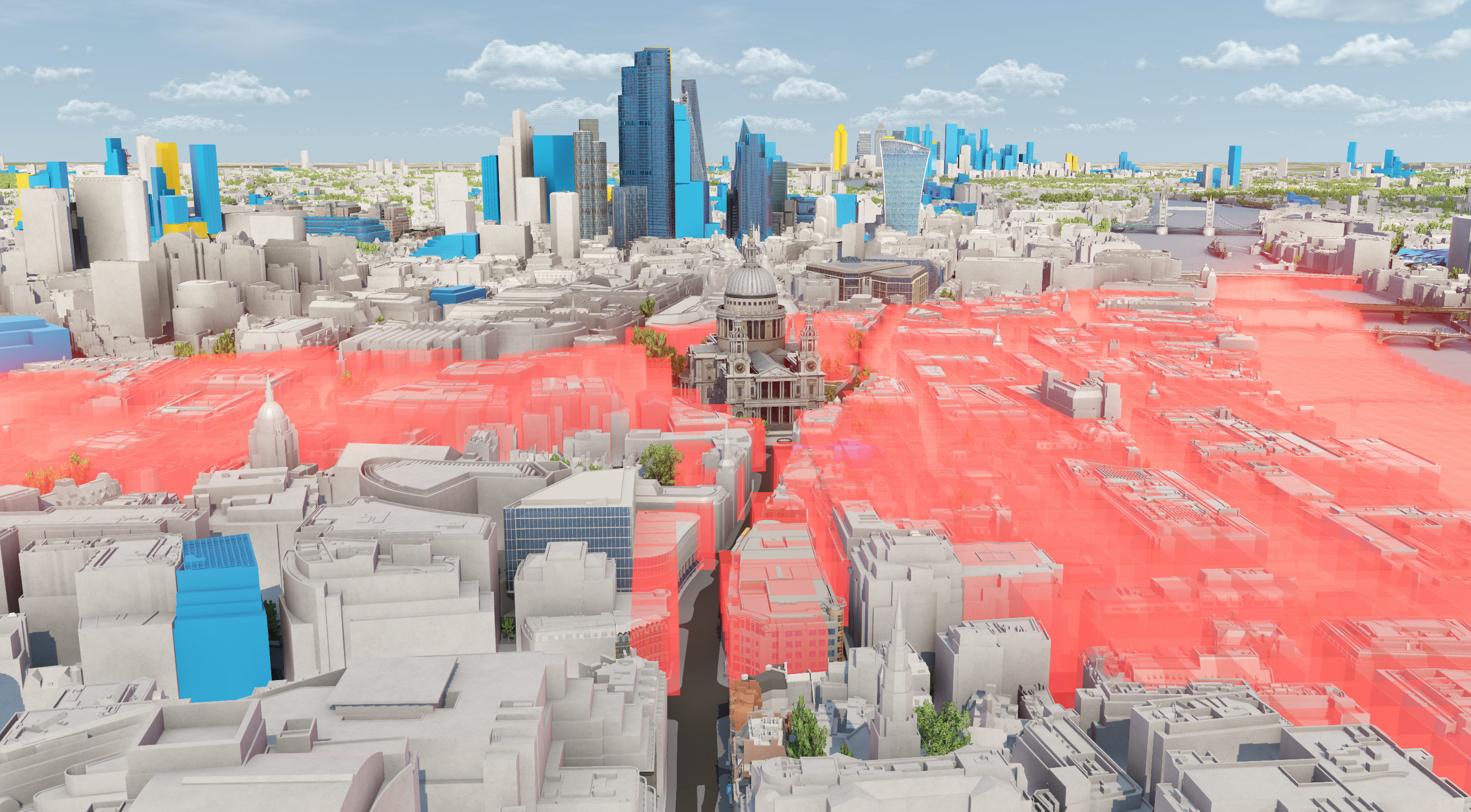 CGI image of 3d maps of london skyline showing sight lines between buildings