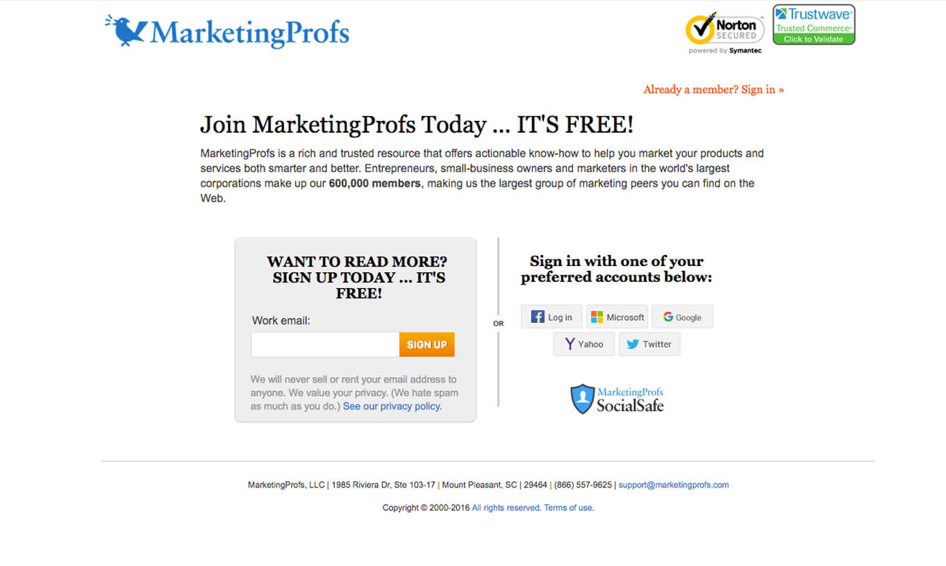 social proof and acceptance example: marketingprofs sign-up page