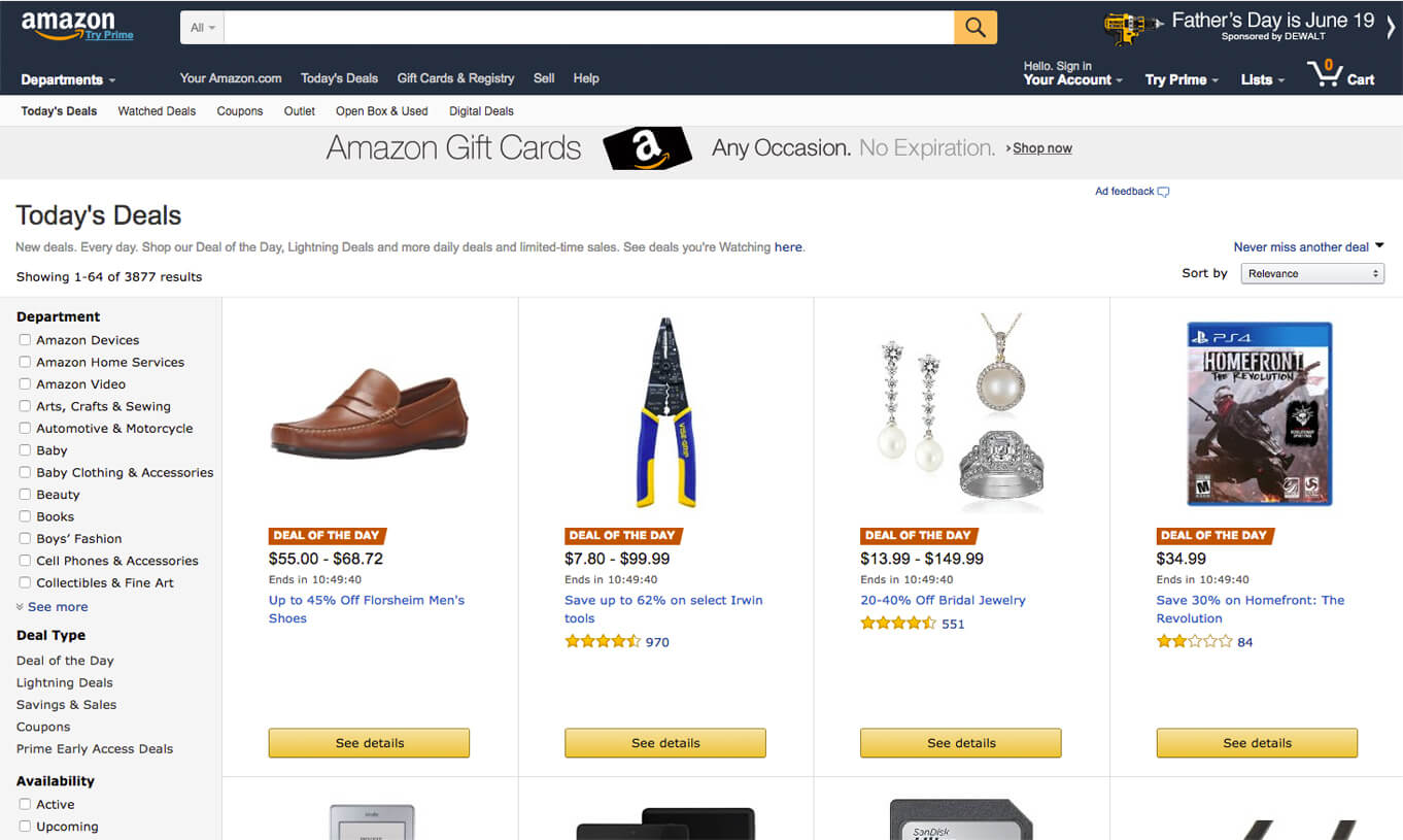 scarcity and FOMO example: amazon deal of the day