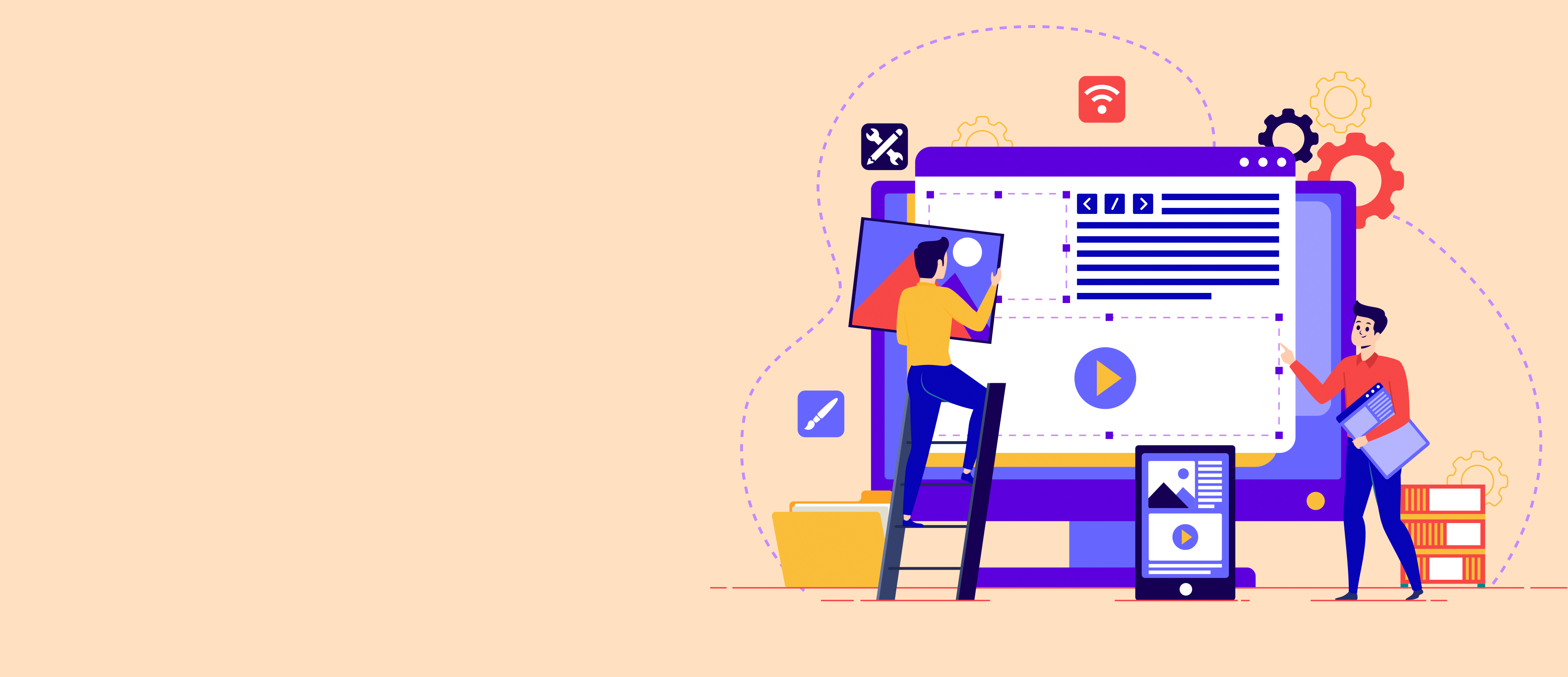 Tiny people search for new solutions, creative work. Conceptual flat vector illustration Teamwork project. Concept for web page, presentation, banner, social media, cards and posters.