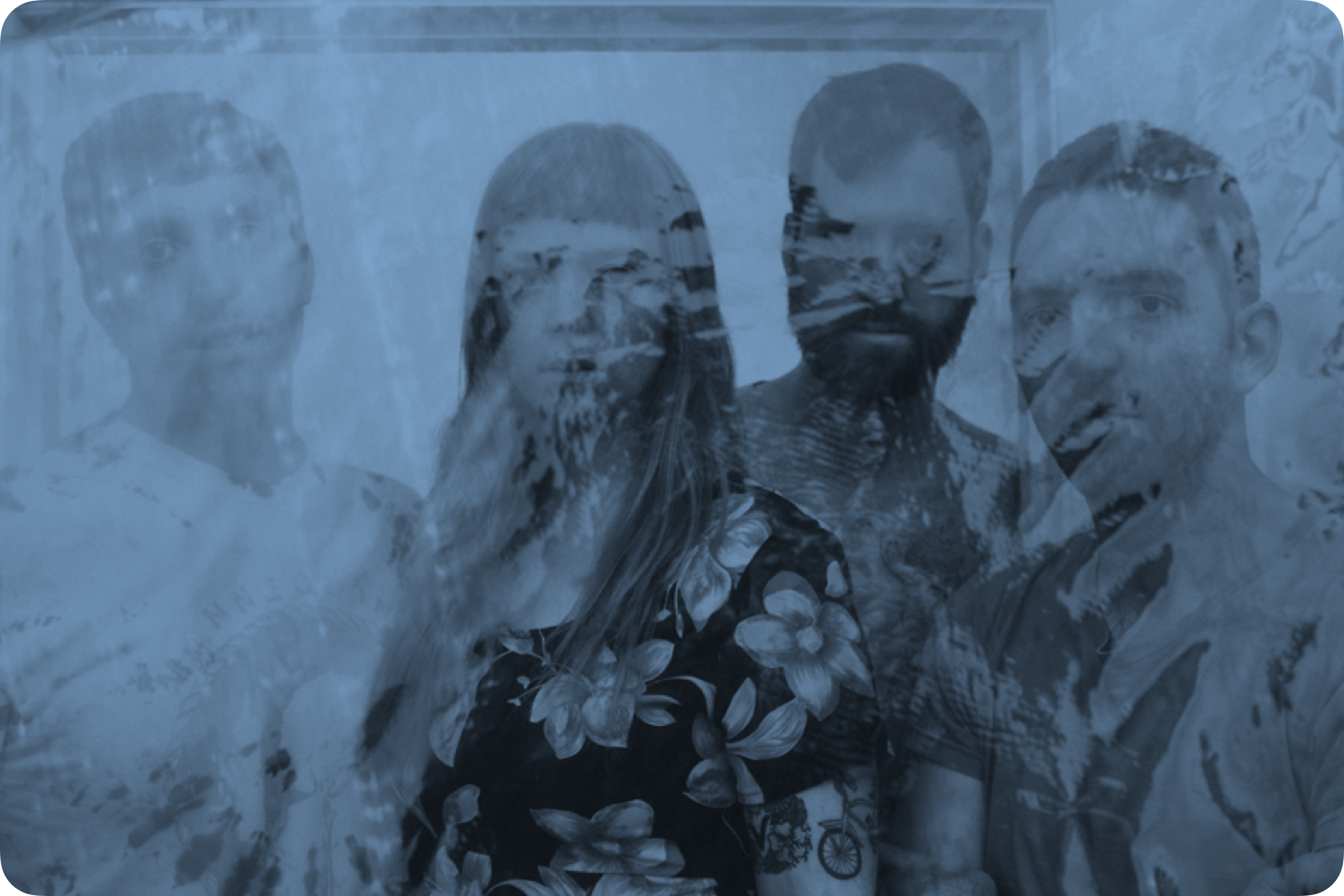 Members of Melkbelly with a floral image overlayed
