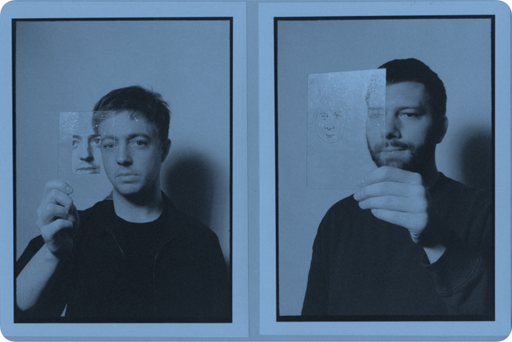 Members of Mount Kimbie holding drawn pictures in front of their faces