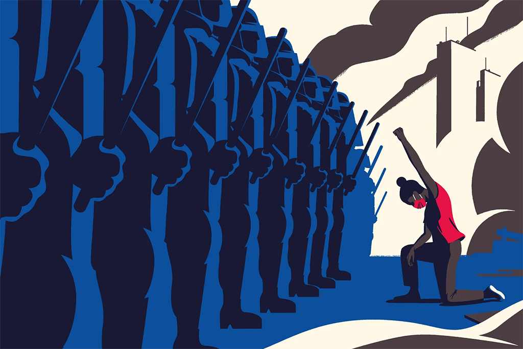 An illustration of a black woman taking a knee with her fist raised in front of a row of policemen with batons.