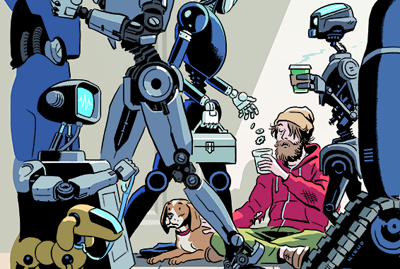 An Illustration of robots walking down a street, going about their days, as one gives money to  a human asking for money on the sidewalk.