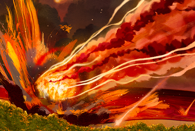 An illustration of a meteor strike,