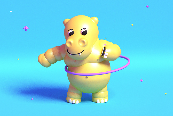 A digital rendering of a yellow hippo hula hooping.