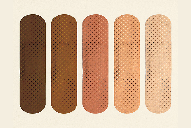 A photo of band-aids in various shades of skin color.