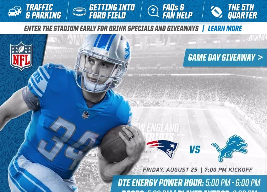 7a9fe269 Game Day Guide - Patriots - vs - Lions - 082517