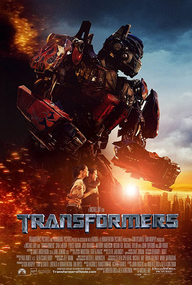 Transformers movie poster in teal and orange coloration