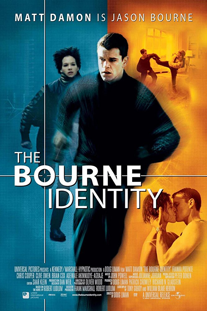 Bourne Identity movie poster in teal and orange coloration