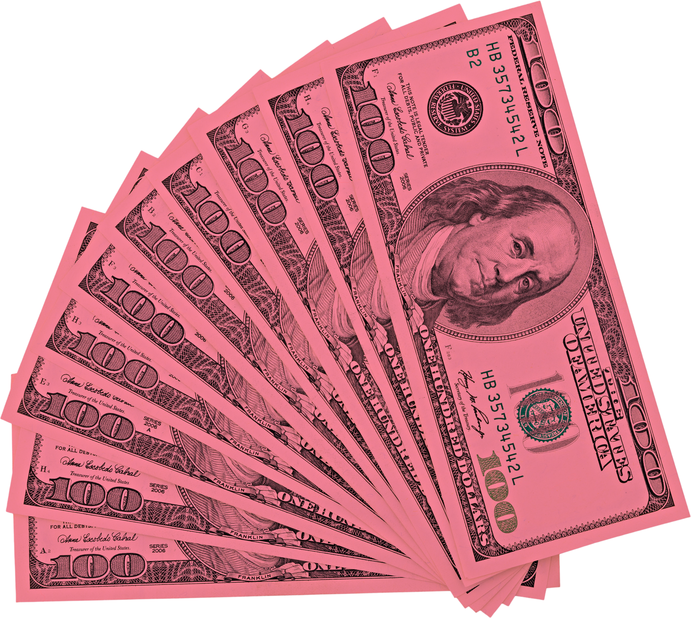 View from top fan American money hundred dollar bill isolated on white background clipping path. Pile US 100 banknote.