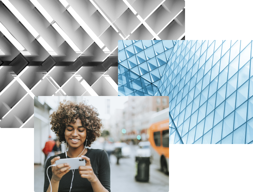 Woman using cell phone with geometric background