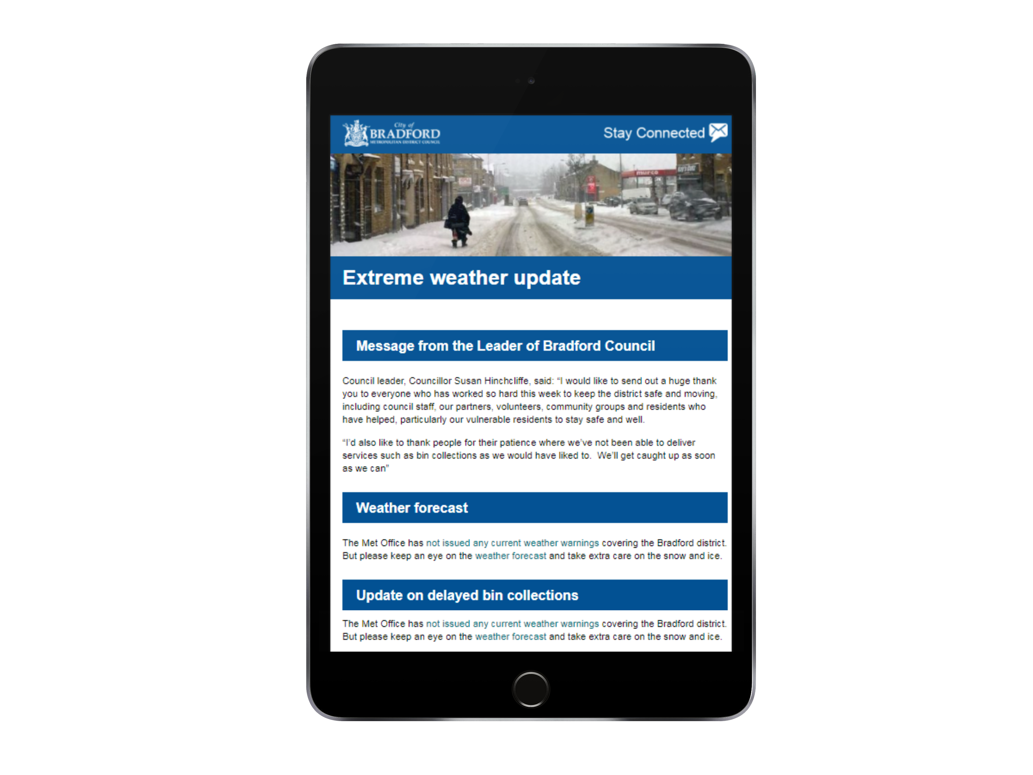 extreme weather alert email bulletin example from bradford council, ipad mockup