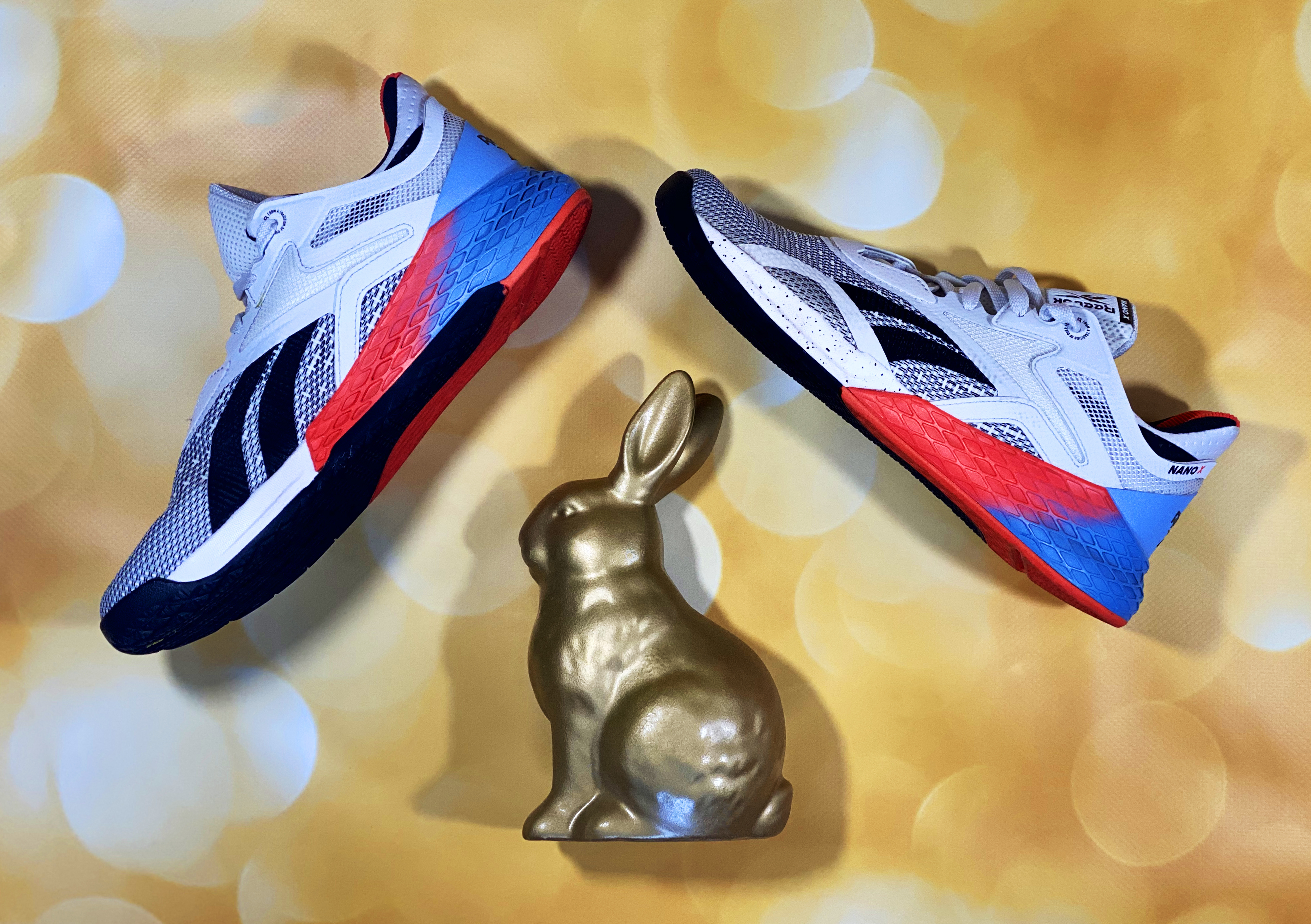 Saucony Endorphin Pro next to the Golden Rabbit on a gold bokeh background
