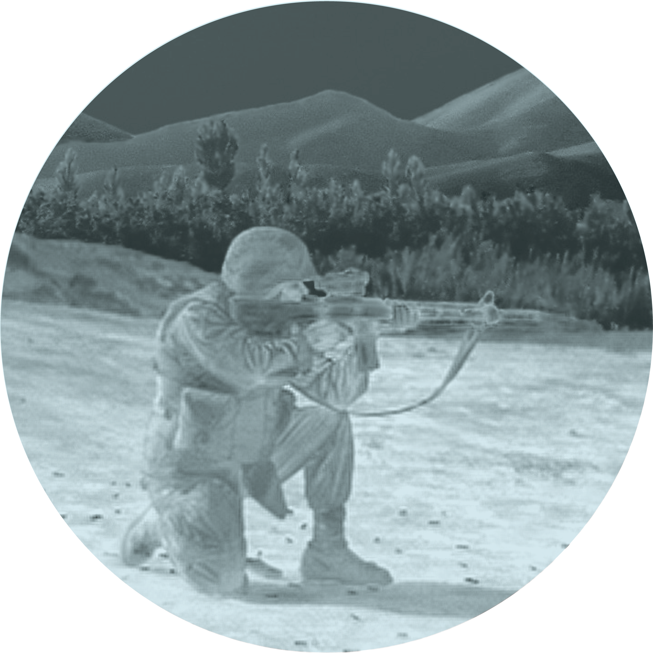 Image showing White Phosphor Overlay through goggle. Image is of a soldier with weapon.