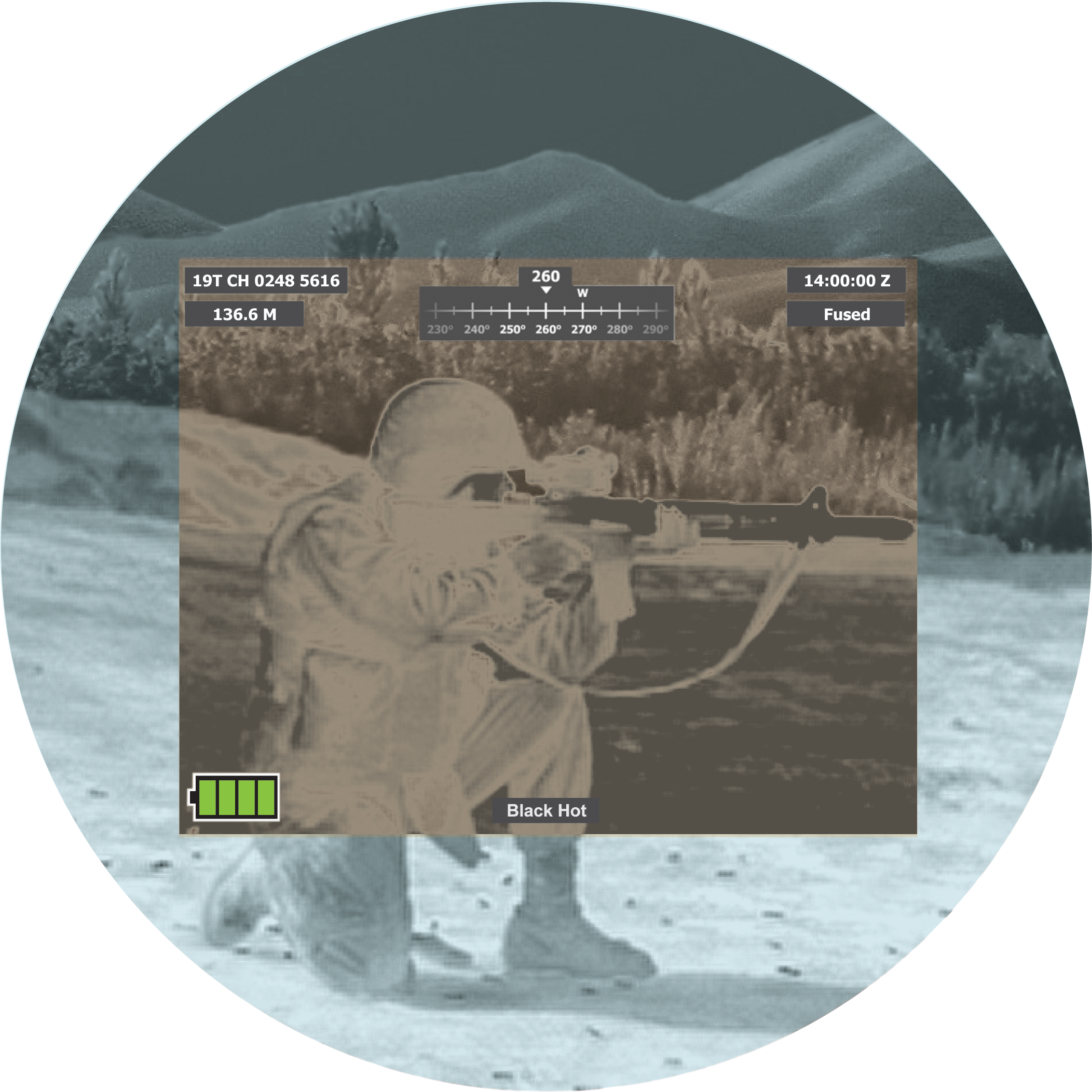 Image showing Fused Black Hot Overlay through goggle. Image is of a soldier with weapon.