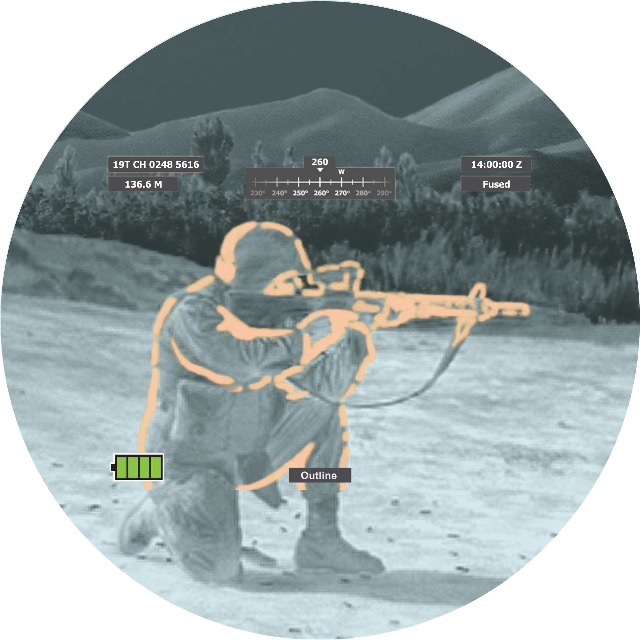 Image showing Fused Outline Overlay through goggle. Image is of a soldier with weapon.