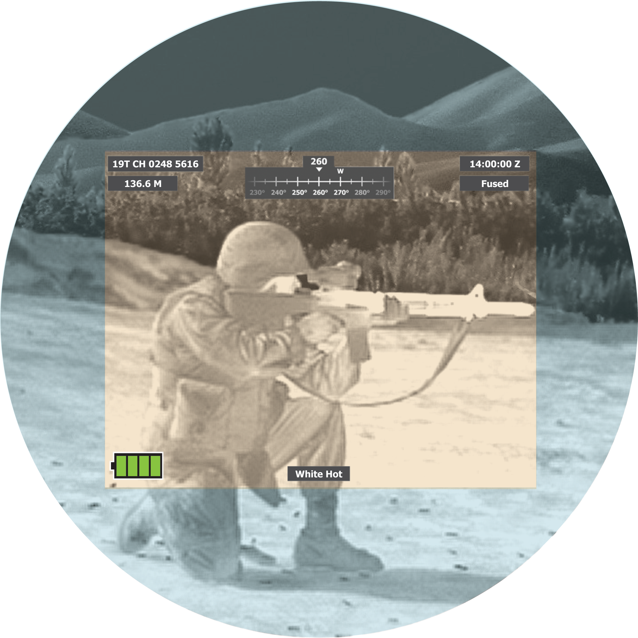 Image showing Fused White Hot Overlay through goggle. Image is of a soldier with weapon.