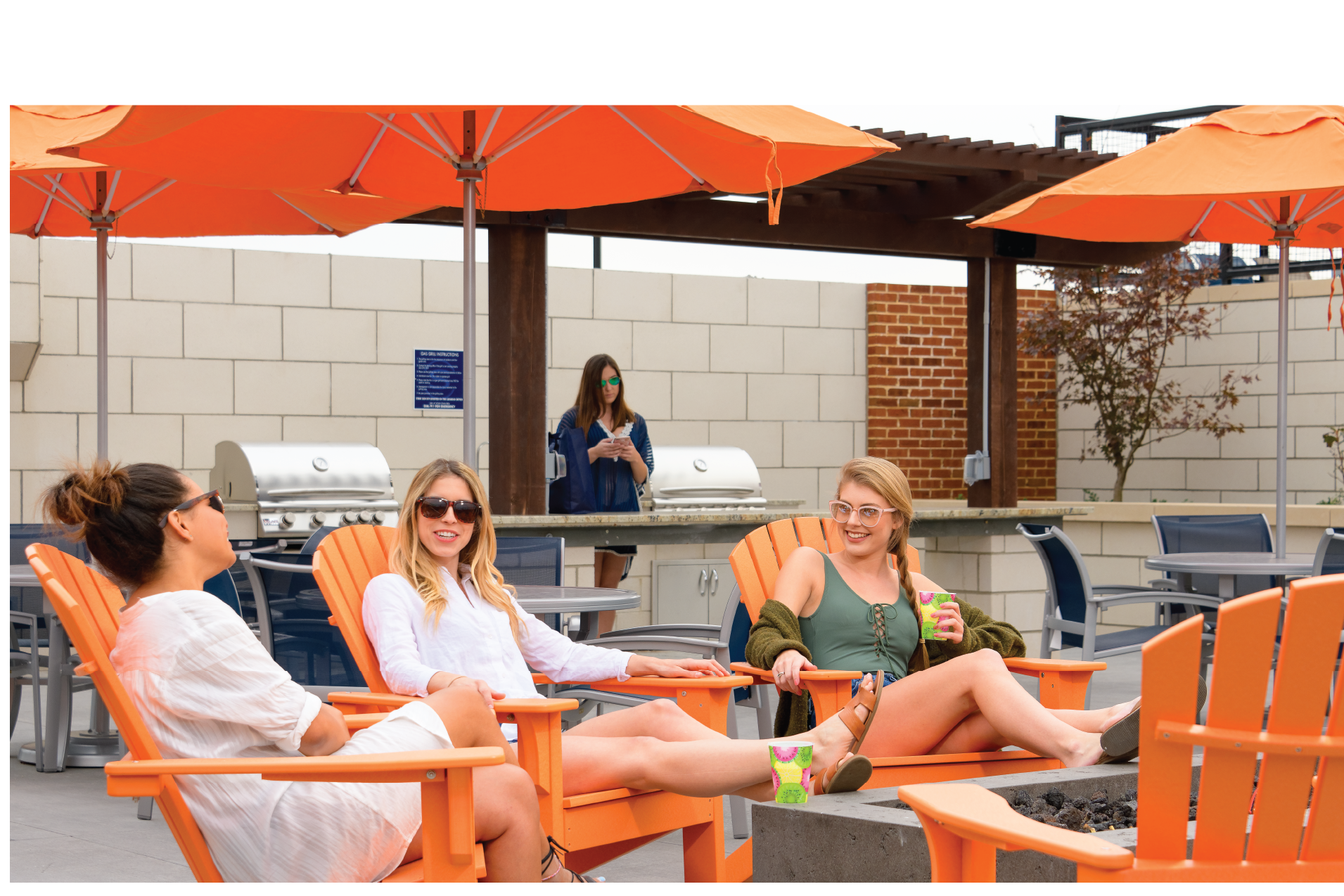 Standard Raleigh, residents lounging in courtyard