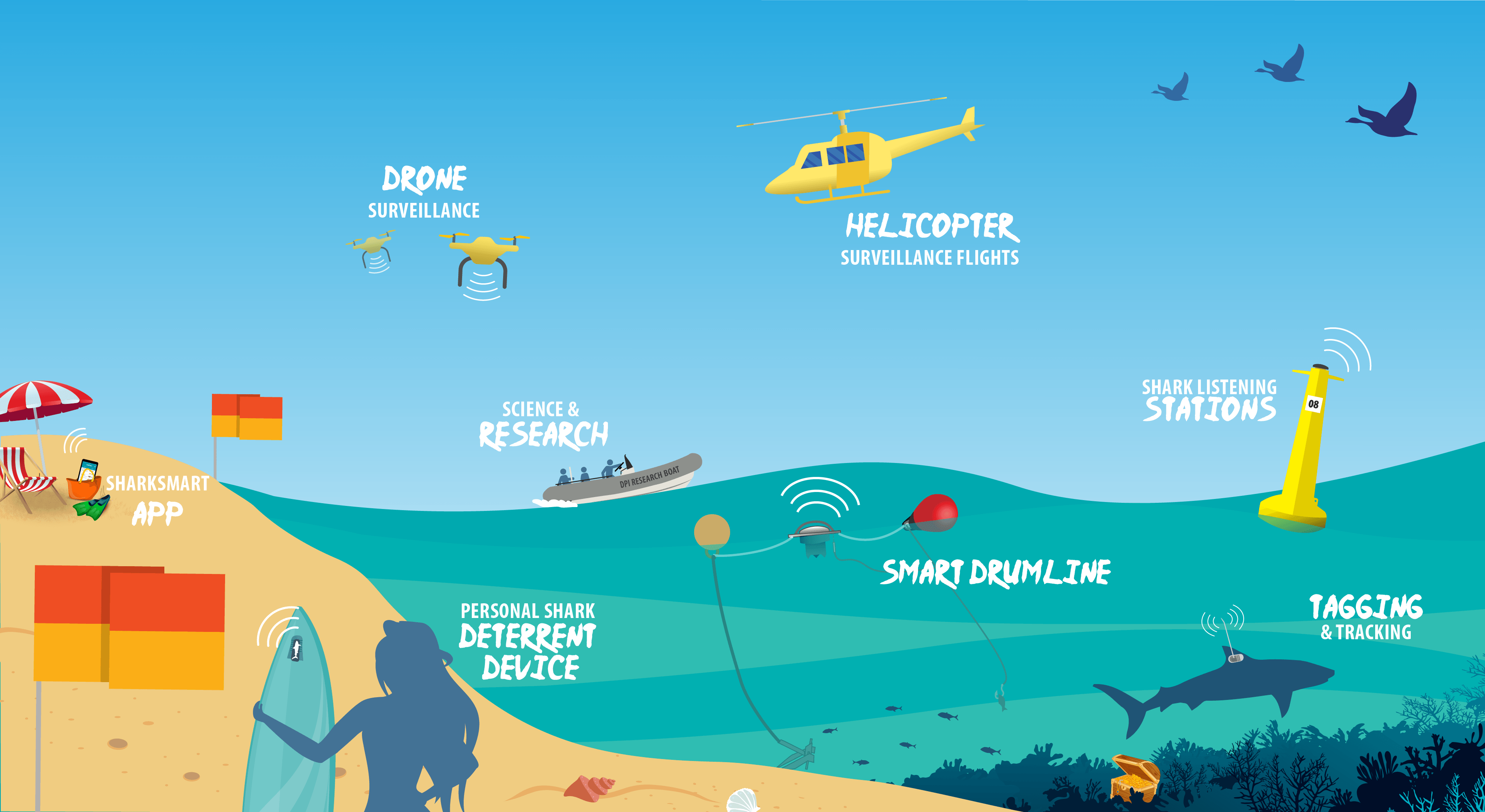 NSW Shark Management Strategy Illustration: Beach scene showing a number of key safety and surveillance  technologies.  These are identified and described further down the web page.