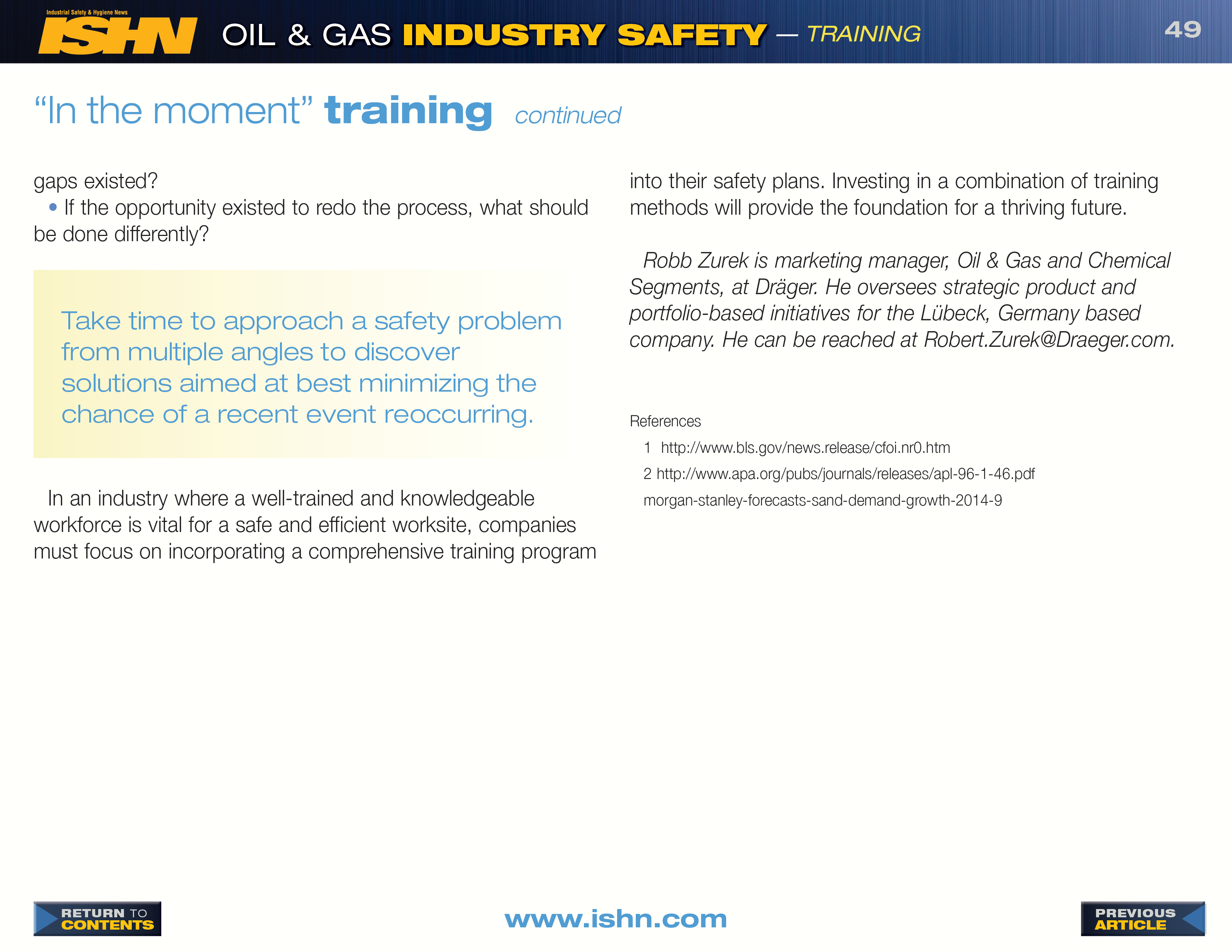ISHN Oil & Gas Industry Safety - Volume 3