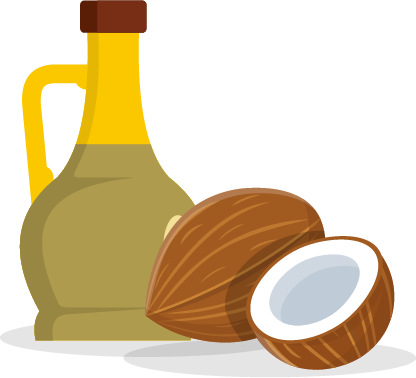 illustration of cocnut and oil based products