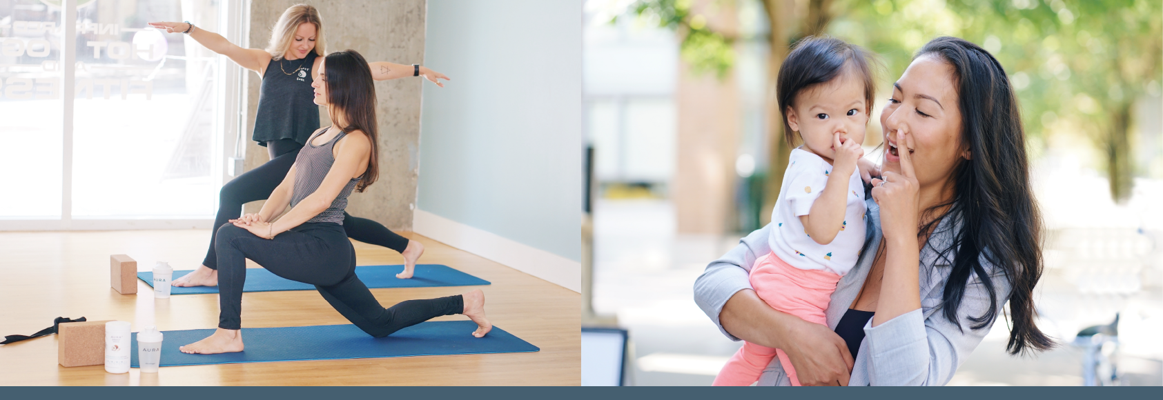 two images, one of women doing warmup stretches and two, a mom playing with her young daughter