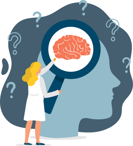illustration of a woman scientist examining the human mind