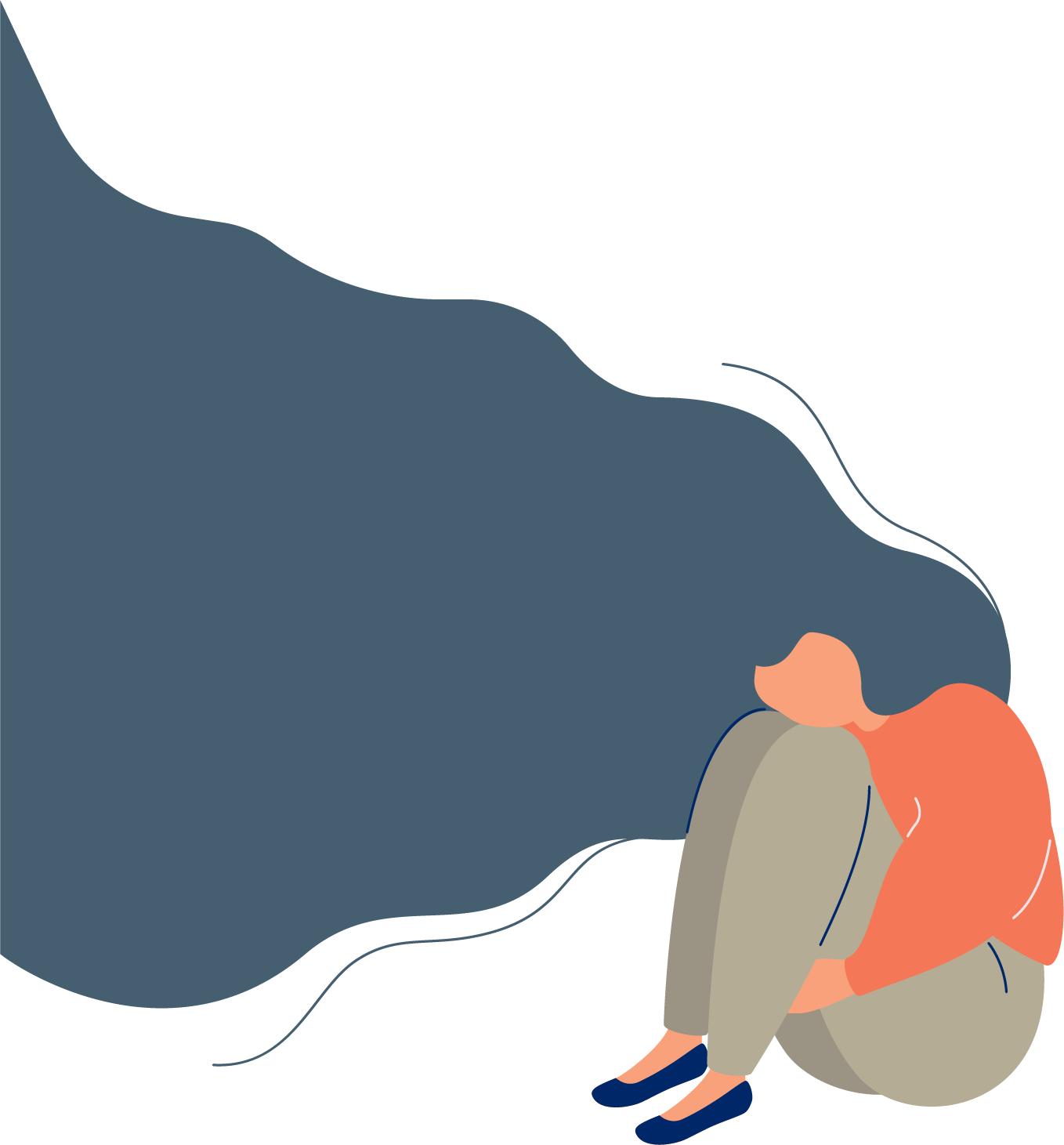 illustration of a depressed woman, sitting on the floor with her arms wrapped around her legs