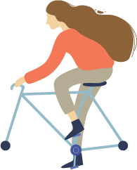 illustration of a brown haired woman happily riding her bicycle