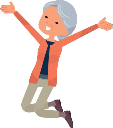 illustration of a very happy and healthy older woman