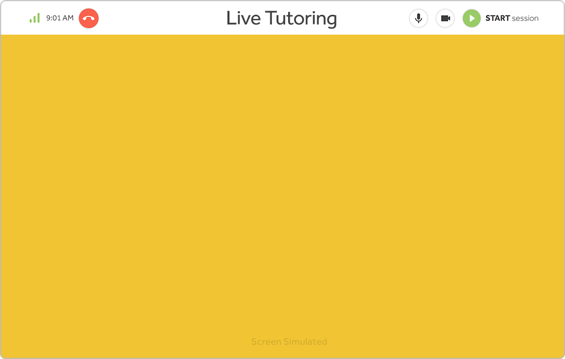 Simulated screen showing Live Tutoring product feature